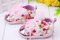 Wholesale Hot Brand Footwear - Hot-selling 6 pairs pink flowers design Brand Baby First Walkers boy Girl Shoes toddler Infant Newborn shoes, antislip Baby footwear K025