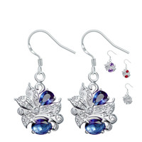 Brincos de arame Trendy Silver Plated Cute Flower Inlaid Blue / Purple / Red / White Crystal Dangle Earring Beautiful Jewellery for Women Acessórios