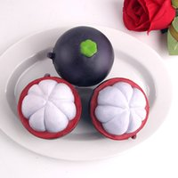Wholesale Open Lanyards - 20pcs lot hot Sale Funny Opening Mangosteen Squishy Slow Rising Tropical Fruit Squishy 7cm Girl Kids Gift Toy Chain Phone