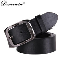 Wholesale Narrow Trousers - Wholesale- New Designer Belts Men High Quality Luxury Brand Leather Belt Pin Buckle Black Business Trouser Strap Cinturones Hombre Cinto