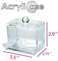 Wholesale Q Tip Cases - Clear Acrylic Swab Storage Case, Organizer For Cotton Swabs, Q-Tips, Make Up Pads, Cosmetics & More - For Bathroom & Vanity By AcryliCase