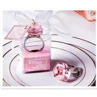 Wholesale Cheap Keychain Wedding Favors - Cheap home party Favors wedding gifts diamond ring shape keychain Key accessories wedding favors and gifts for guest 50pcs lot