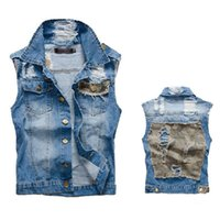 Wholesale Camouflage Waistcoat - Wholesale- New Men's Camouflage Denim Vest Male Jeans Waistcoat Man Sleeveless Jackets Men Camo Brand Clothing Plus Size M-3XL,LA041