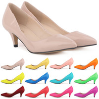 Wholesale Low Heel Patent Leather Pumps - Sapatos Feminino Fashion Womens Sexy Low Mid Kitten Heels Shoes Pu Patent Leather Pointed Pumps US Size 4-11 D0069