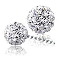 Wholesale Swarovski Rhinestone Silver Balls - 925 Silver Shamballa Crystal Earrings disco Ball Stud Earrings Swarovski Jewelry for Women with Rhinestone 6mm 8mm 10mm 12mm