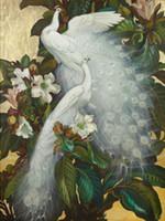 ölgemälde zweige groihandel-Gerahmte, riesige handgemalte Vögel weiße Pfauen auf Blumen Zweig Wand Dekor Kunst Ölgemälde auf Leinwand Multi Größen können angepasst werden R94