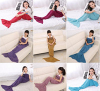 Wholesale Blue Fur Tail - Kids Mermaid Blankets Handmade Mermaid Tail Blankets 140*70cm Mermaid Tail Sleeping Bag Knit Sofa Nap Falbala Blankets Costume Cocoon