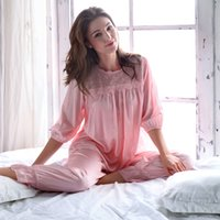 Wholesale Woman Elegant Pajamas - 2017 New Women Pajamas Spring Summer Female Lace Long Pants Pajama Sets Elegant Silk Cotton Princess Sleepwear Lounge Set 1001