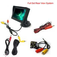 Wholesale Digital Car Parking Sensor System - LEEWA Car 4.3 inch Digital Windshield LCD Monitor With 4-LED Reversing Backup Camera Rear View System #3866