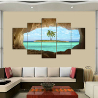 Wholesale Palms Pictures - 5 Pcs Azure Ocean Island Palm Tree Coconut Tree Seascape Home Wall Decor Canvas Picture Art HD Print Painting On Canvas Artworks