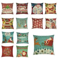 Wholesale Printed Cushions Linen Cotton - 2017 Christmas Pillow Case Textiles Cotton Linen Pillow Santa Claus Reindeer Back Cushion Cover Holiday Decorations Xmas Gift 13 colors DHL