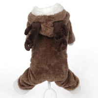 Wholesale Dog Leg Warmer - Elk turned small dog clothes winter warm pet four legs Clothing hoodie dog coat jacket pet costumes Teddy Bichon Frise apparel