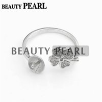 Bulk of 3 Pieces Ring Settings 925 Sterling Silver DIY Jóias Four Leaf Clover Ring Blanks