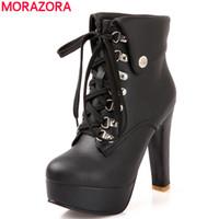 коричневые ботинки платформы кружева оптовых-Wholesale-MORAZORA 2016 new fashion lace up women ankle boots high heels black brown motorcycle boots platform shoes woman