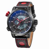 b15a368de130 Venta caliente Marca de Moda WEIDE Reloj Digital de Cuarzo Hombres Hombre  Relogio Negro Rojo Reloj de Hombre Reloj de Alarma Banda de Cuero Reloj de  pulsera ...