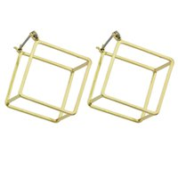 Estilo Steampunk Minimalista Jóias Black Gold-Color Silver Color Geométrico Square Stud Brand Statement Earrings