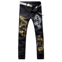 Wholesale Tiger Stretch Pants - Wholesale-Men's casual tiger colored drawing print jeans Fashion slim straight black stretch denim pants Long trousers