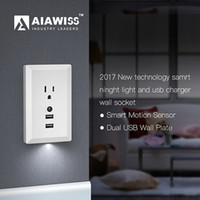 Wholesale Led Socket Converter - AIAWISS LED Night Light with Automatic Dusk to Dawn Sensor and 5V 2.4A Dual USB Wall Outlets Charger,Wall Socket Adapter Plug White Black
