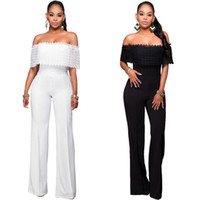 Wholesale Jumpsuit Cheap Polyester - Fashion Elegant Rompers Womens Jumpsuit Off Shoulder Ruffles White Black Bodysuit Strapless Loose Slim Casual Overalls cheap