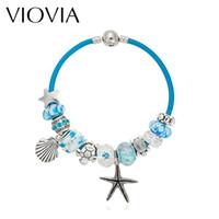 Wholesale Gold Murano Beads - Wholesale- VIOVIA Summer Style Blue Leather Bracelets & Bangles Sea Turtle Star Shell Charm murano glass beads bracelet for women B15180