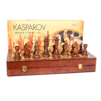 Wholesale portable chess - Wholesale- Kids Educational Toys High quality Standard Competition Jumbo Folding Portable Wooden Chess Set With Big Size Chess Pieces
