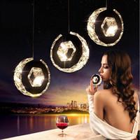 habitaciones forradas al por mayor-Lámpara de barra de araña de cristal LED Mesa redonda de luces de comedor Lámpara de línea de colgante Lámpara de anillo de cristal simple Lámpara de suspensión de círculo