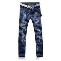 Wholesale Tattoo Dragons Designs - Men's Casual Dragon Tattoo Design Print Jeans Man Fashion Slim Fit Straight Denim Pants Blue Black Elastic Long Trousers Free shipping