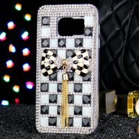 Wholesale S4 Jelly - 20PCS For Samsung s7 s8 s8plus s7edge s6 s6edge s4 NOTE 5 NOTE 3 NOTE 4 Black white Jelly Butterfly tassel Rhinestone phone case