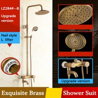 Wholesale Classic Brass Bathroom Faucets - Antique Bathroom Shower Suit Free Height Lifter Big Round Waterfall Mixer Shower Antique Archaistic Brass Low lead Rain Shower Set Free ship