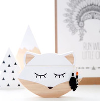 Wholesale Kids Fox Wall Decals - Wholesale 1 PCS 20*14cm Wooden Animal Handmade White Fox Wall Art Decal for Nursery and Kids Room Decor Table Ornament Photography Props
