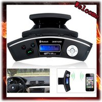 Wholesale Caller Id Kit - Wholesale-Steering Wheel Mount Bluetooth handsfree kit Car Kit Caller ID Handsfree Speaker + MP3 Player FM Transmitter,Free Shipping