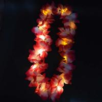 Wholesale Wholesale Blink Dress - Light Blinking Hawaii Luau Beach Party Flower Lei Fancy Dress Necklace Hula Garland Wreath Wedding Decor Party Supplies