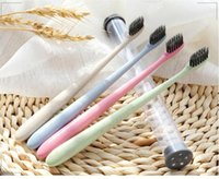 Wholesale Make Bamboo Charcoal - 1200pcs The Portable Travel Toothbrush Wheat Soft Bamboo Charcoal Toothbrush Tongue Cleaner free shipping made in china