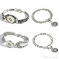 Wholesale Cheap Metal Bangles - Charm Bracelets Silver Plated Bangle For Men Women Snap Button Bracelet Ginger Snap Jewelry Cheap Cuff Bangle metal Snap Bracelet