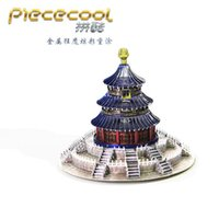 Wholesale Temple Heaven Puzzle - Beijing Heaven Temple Metal Puzzle Model Colorful Assembly Earth Model Kits Laser Cut Toy Jigsaw Artwork DIY Building Block Gift for Adults