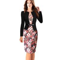 Wholesale Wholesale Club Wear Dresses - Wholesale- 2016 Fashion Plus Size 4XL Women Dresses Long Sleeve Empire Sheath Print Notched Knee-Length Wear to work Vintage Pencil Dress