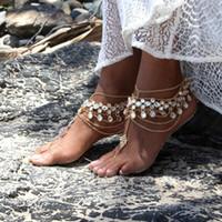 nuptiale sandale doré achat en gros de-2018 plage d'été bijoux de pied strass pieds nus Goutte d'eau Sandales de mariage argent or sans pieds accessoires de mariée