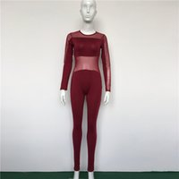 Wholesale See Through Womens Clothing - Sexy Womens Skinny Jumpsuits See Through Crew Neck Ladies Rompers Club Womens Bodycon One Piece Clothes