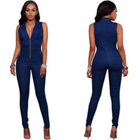 Wholesale Sexy Cowboys Clothing - New European And American Style Rompers Women's Sexy Jumpsuits Fashion Clothing for Autumn Cowboy sleeveless Jumpsuits