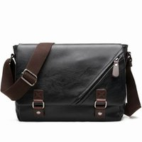 Newstylish Casual Masculino Classic Leather Messenger Bag Shoulder Cross Body Laptop Designer Mailbag Bolsa Postal com tira de lona
