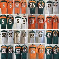 Wholesale Red Blue Ray - Men Football Jerseys 5 JOHNSON 20 Ed Reed #52 Ray Lewis #26 Sean Taylor 47 IRVIN 87 WAYNE Mens College Miami Hurricanes Jersey Cheap