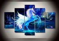 Barato Pinturas Da Arte Do Cavalo-5 Piece Modular Home Decor Wall Art Pictures Unicorn Horse Group Paintings on Canvas Wall Art para decoração em casa Decoração de parede