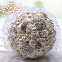 Wholesale Wedding Bouquet Styles Roses - 2017 New Style Crystal Brooch Custom Made Bouquet Artificial Satin Flowers Wedding Bouquet Bridesmaids Pearls Wedding Accessories