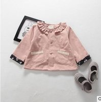 Wholesale Baby Girls Pink Ruffle Coat - Baby girls coats Toddler kids ruffle collar long sleeve outwear Infants double-pockets single-breasted tops 2017 new Kids windbreaker G0763