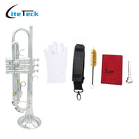 Wholesale Trumpet Clean - Wholesale- Trumpet Bb B Flat Silver-plated Brass Trumpet Exquisite with Mouthpiece Cleaning Brush Cloth Gloves Strap
