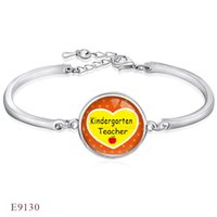 ANTIQUE Silver <b>Kindergarten Science</b> Teacher Life Cupola in vetro Cabochon Bangle Bracciali per donna Uomo ragazza regolabile gioielli amicizia