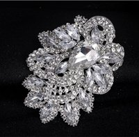 Wholesale Best Wedding Flower Bouquet White - Wedding Silver Vintage Bouquet Brooches Sparkly Large Brooch Pin Corsage Crystal Rhinestone buckle Flower Pins Swarovski Best Jewelry Pins