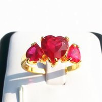 Wholesale Solid Yellow Gold Ruby Ring - womens ring 1.8ct clear ruby red gemstone ring solid 14k yellow GP rings girls exquisite rings new
