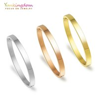 Wholesale bangle bracelet for ladies silver resale online - Yunkingdom Stainless Steel Bracelets Bangles For Women Titanium Steel Bangles Three Colors Gold Ladies Bangles