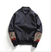 Wholesale Casual Spring Military Jacket Men - Spring Mens Jacket Coat Floral Embroidery Bomber Jacket Military Casual Loose Plus Size Army Green Men Outwear ape Topcoats z10